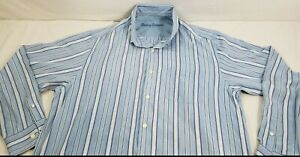 Tommy Bahama Striped Blue Button Up Shirt, Long Sleeve, 100% Silk, Mens L