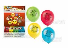 "8 X EMOJI THEME Birthday Party Decorations 12"" Latex BALLOONS"