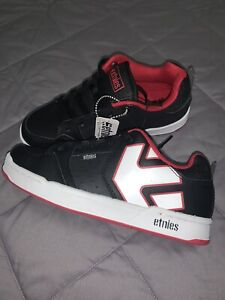 Etnies Youth Boys Black Red White Leather Shoes Skate Size 3 NWOB