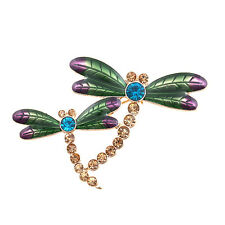 Gold tone namel and crystal dragonfly two dragonflies brooch pin