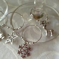 Christmas Wine Glass Charms x 8 Table Decoration, Secret Santa, Stocking filler