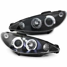2 PHARES ANGEL EYES PEUGEOT 206 206CC 206SW SW CC NOIR LED H7 UNIQUEMENT
