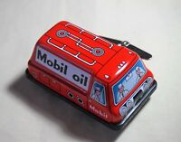 "New VINTAGE Tin Toy Sanko Wind Up Auto Turn 3"" Mobil Oil Truck Made in Japan"