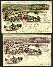 Württemberg 59 on (2) postcards of the Army base at Hardt, 1900-1901