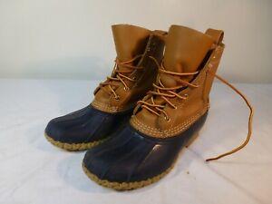 L.L. Bean Original Duck Boots Women's Brown Leather Blue Upper - US 8