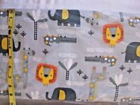 #410 New Flannel Fabric BTY ; 2 Yds (select size) Gray Zoo Friends lion elephant