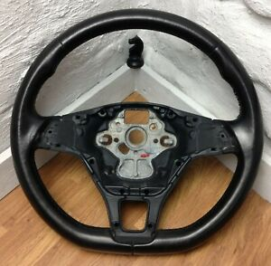 Genuine VW Golf MK7, flat bottom black leather steering wheel.  3C