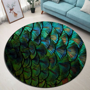Room Area Rug Bright Peacock Feathers Porch Floor Beach Mat Round Yoga Carpet