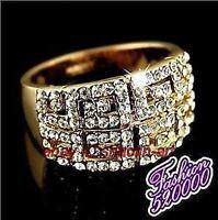cadeau de Noël,En or 18 carats plaqué éblouissant GP Cristal Bague  taille 57 #