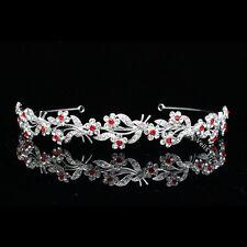Floral Bridal Headpiece Red Crystal Rhinestone Prom Wedding Tiara Headband V668