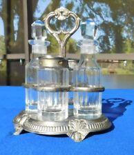 7 Piece Silver plate Ornate Vintage Glass Cruet Server Set