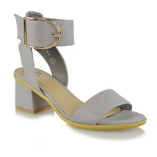 Ladies Ankle Strap Sandals Low Block Heel Womens PEEP Toe Party Shoes Size UK 4 / EU 37 / US 6 Grey Faux Suede