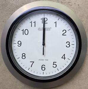 "WT-3129S La Crosse Technology 12"" Atomic Analog Wall Clock Silver - Refurbished"