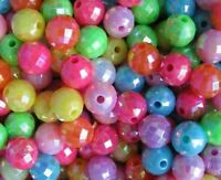 200 x Acrylic Facet Round Beads Multi-Mix AB 6mm -  lady-muck1