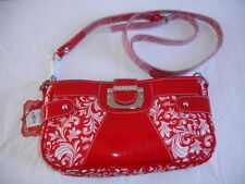 NEW FLAUNT by FAITH NICOLE Bag Purse FASHION RED HAUTE CROSS BODY WHITE FABULOUS