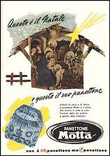 PUBBLICITA' 1952 PANETTONE MOTTA MILANO NATALE PRESEPE NATIVITA' TRADIZIONE CAKE
