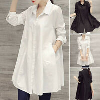 Women Long Sleeve Oversized Tops Solid T Shirt Tunic Casual Blouse Shirt Dress