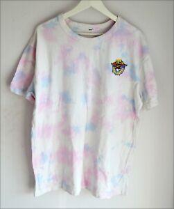 H&M SpongeBob 'Stay Pretty' Pink White Tie Dye Transfer Cartoon T Shirt Size L
