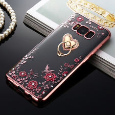 With Bling Ring stand Ultra-thin flower Clear Case cover for Samsung S6 S7 S8+