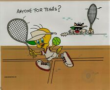 """Sylvester and Tweety Bird """"Anyone For Tennis?"""" Sericel cel 1992 WB Serigraph"""