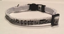 MUSIC NOTES COLLAR Cat Dog Small Pet Cute Puppy Kitten Bell Mini Cool Band White