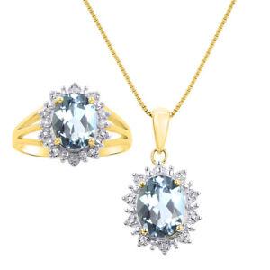 Princess Diana Inspired Halo Diamond & Aquamarine Matching Pendant Necklace and