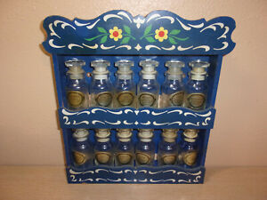 VINTAGE BLUE  SPICE RACK WITH 12 SPICE BOTTLES SOME ARE IN GERMAN