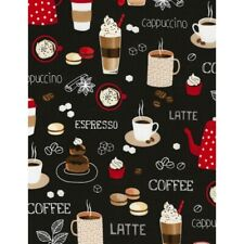 100% Cotton Fabric Timeless Treasures Coffee Espresso Cappuccino Latte