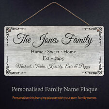 Personalised Family Name Plaque - Metal Sign Hanging Custom family names Gifts