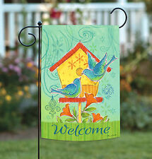 Toland Blue Bird House 12.5 x 18 Colorful Welcome Flower Spring Garden Flag