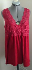 ON SALE Avenue red lace  v neck  babydoll nightie nightgown 18 20