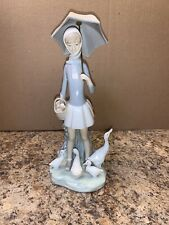 Lladro Retired #4510 Girl with Umbrella and Ducks/Geese Figurine