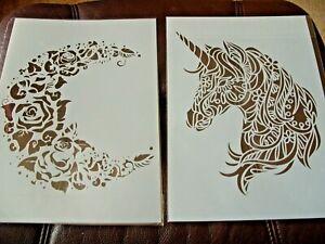 A4 Layering Stencils Templates Scrapbooking, Craft  DIY  Unicorn, Floral Moon