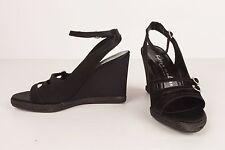 Bettye Muller Black Satin Wedge Open Toe Shoes W/ Ankle Strap  S 36