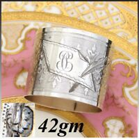 """Antique French Sterling Silver Napkin Ring, Guilloche Style Decoration, """"PC"""""""