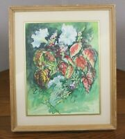 A The Dragon Fly Watercolor Vtg Painting S. Patricia Michaelin Woeckner Floral
