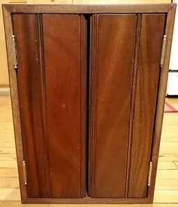 """Vintage Walnut Wood Cabinet 19"""" Handmade Freestanding Double Doors Hanging Bars"""