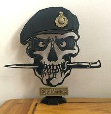 More details for royal marines commando skull & dagger silhouette, desktop ornament, vet present