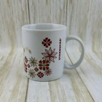 Starbucks 2013 Holiday Poinsettia Snowflake Christmas Coffee Mug Red Gold 12 oz.