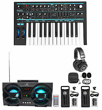 Novation BASS STATION II 25-Key MIDI USB Keyboard Synth+Headphones+Mics+Speaker