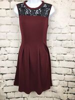 Kut From The Kloth Women's Dark Red Fit Flare Sleeveless Lace Dress Size 8