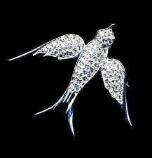 Signed Christian Dior Bird Pin Brooch Rhodium Plated with Crystals  New