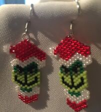 The GRINCH Stole Chrstmas Earrings-Hand Made-Glass Seed Beads Woven-Shimmer