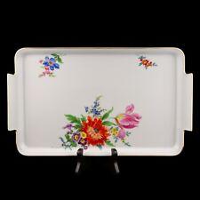 Meissen Tablett Porzellanplatte Blumenmalerei und Gold 37,5cm x 22,3cm 1. Wahl