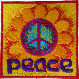 Peace Sign Iron On Patch Sew On Clothes Flower Hippie Symbol Embroidered Badge