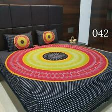 Indian cotton bed sheets 2 pillow jaipuri traditional handmade mandala cover_H4