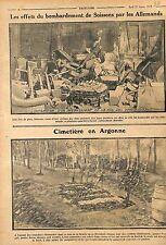 Ruines Bombardement de Soissons /Tombes Feldgrauen Cimetière en Argonne WWI 1915
