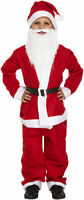 BOYS SANTA SUIT WITH BEARD & HAT FATHER CHRISTMAS FANCY DRESS CHILD COSTUME 4-12