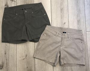 "KUHL Womens Size 4 SPLASH 5.5"" Inseam Shorts Khaki ~ Olive 2 Pair Active Outdoor"