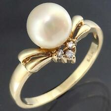 Dressy White AKOYA CULTURED PEARL 3 DIAMOND SOLID 9k YELLOW GOLD RING Mid Sz O